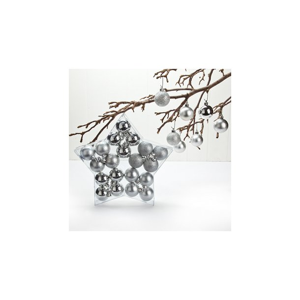Julstræskugler, sølv