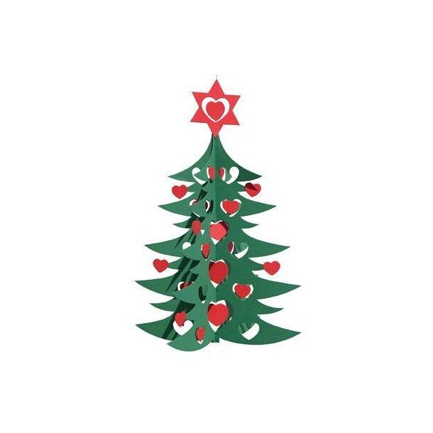Juletræ med hjerter,dbl. grøn